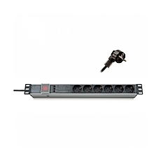 "Formrack 19"" 6 way power outlet strip (Schuko 230V) with circuit breaker and on/off switch Aluminium 1U"